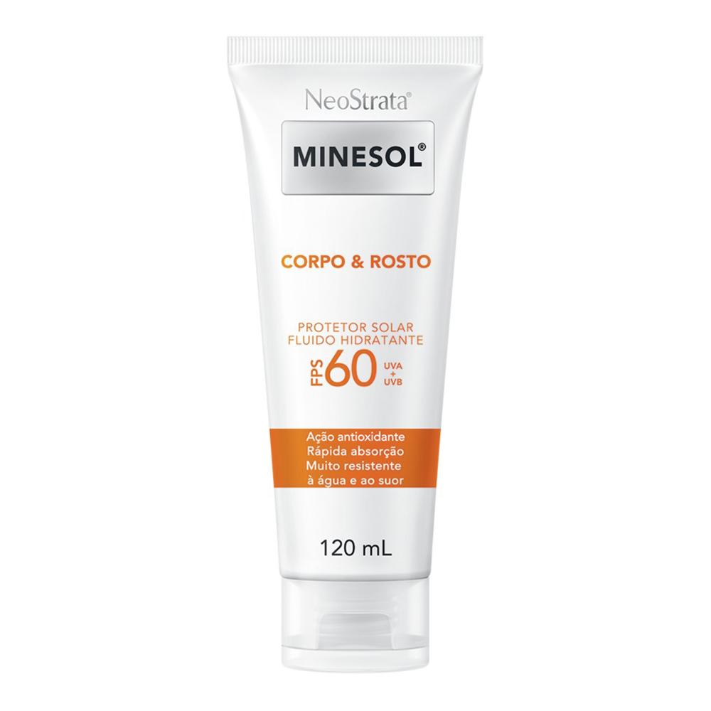 Neostrata Minesol Corpo e Rosto Protetor Solar Fluido Hidratante FPS 60 120 ml - CX c/ 6