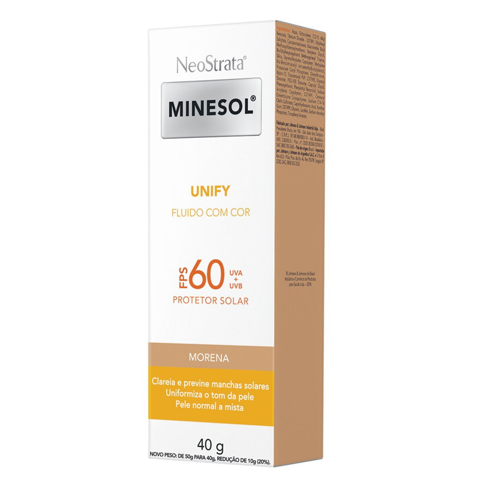 Neostrata Minesol Unify Fluido com cor Pele Morena FPS 60 40g - CX c/ 6
