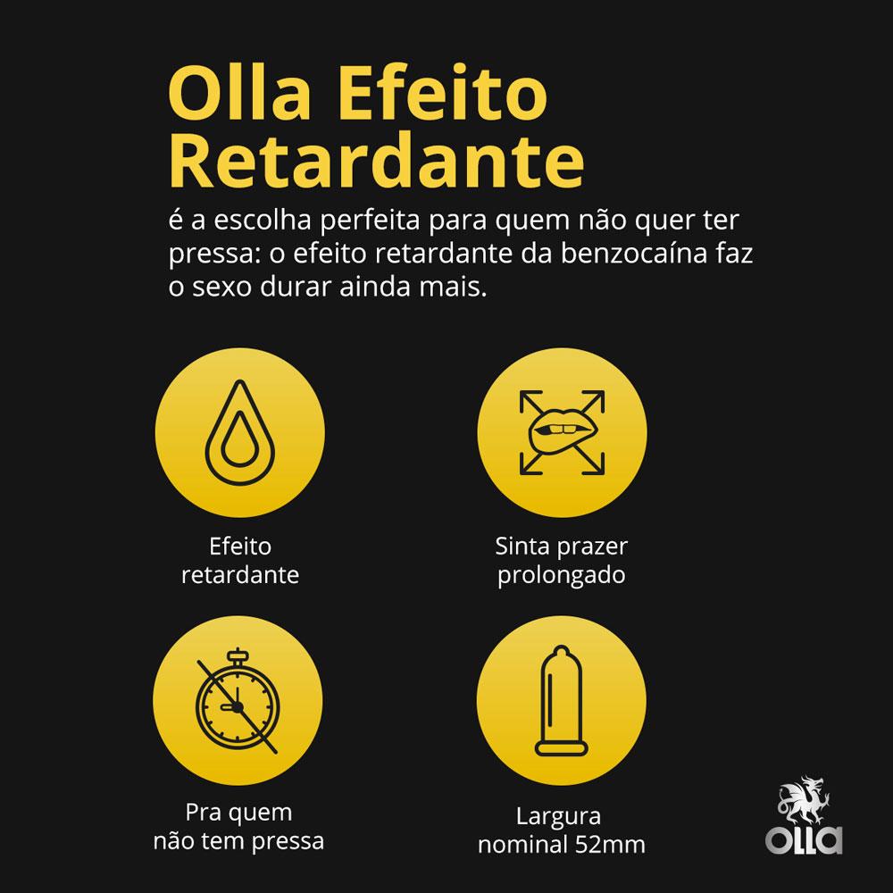 Preservativo OLLA Lubrificado Prolong 6 unidades - CX c/ 24