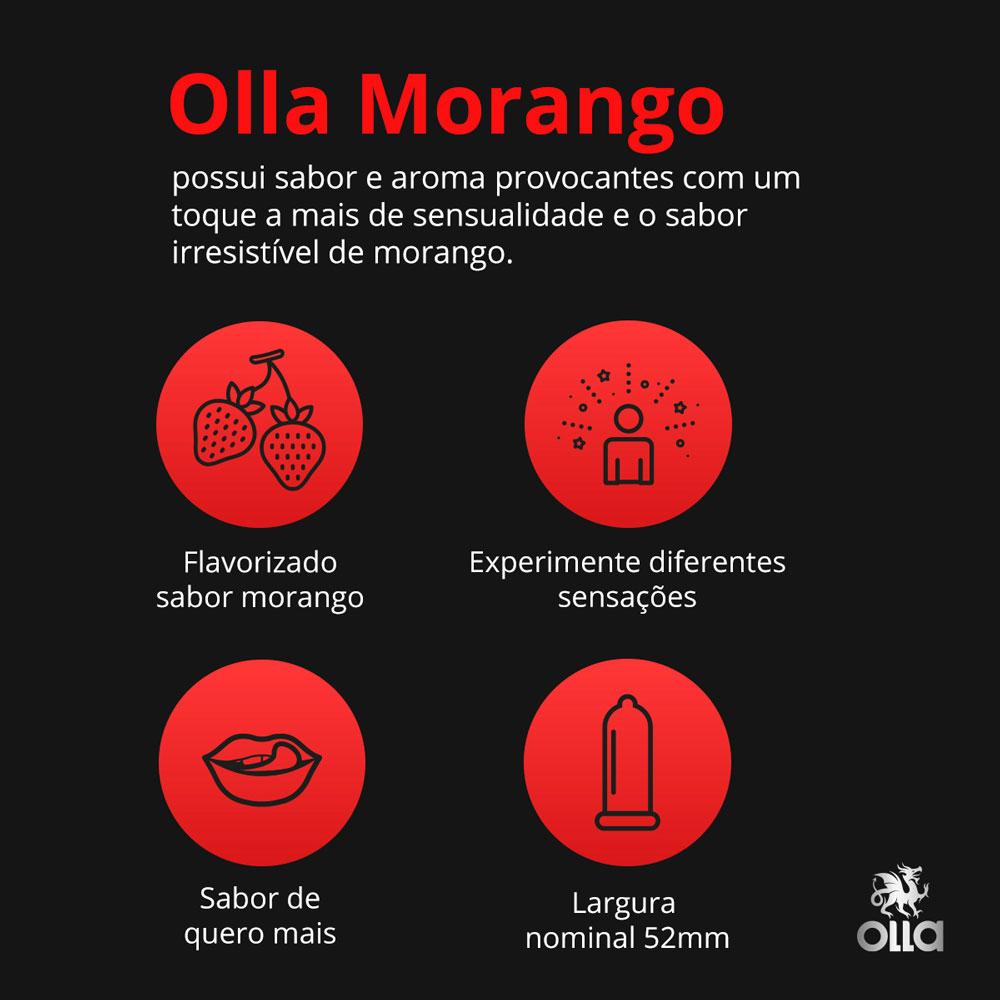 Preservativo OLLA Lubrificado Sabor Morango 3 unidades - CX c/ 48