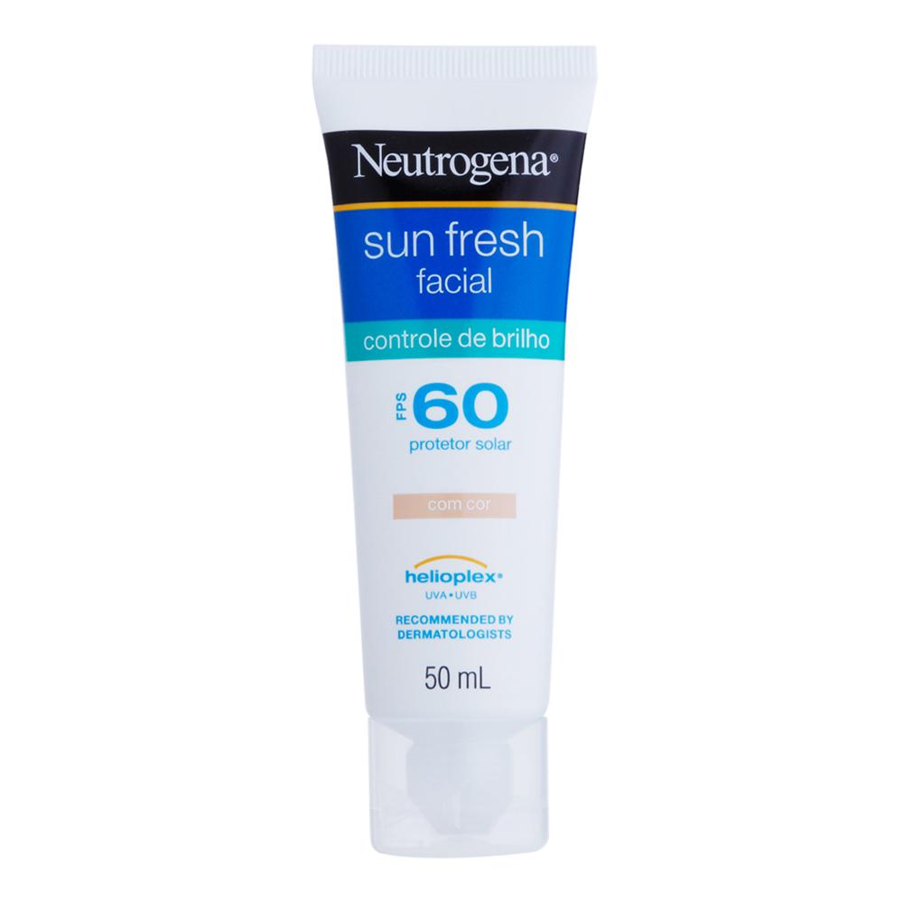 Protetor Solar NEUTROGENA Sun Fresh Facial Controle de Brilho com cor FPS 60 50ml - CX c/ 6