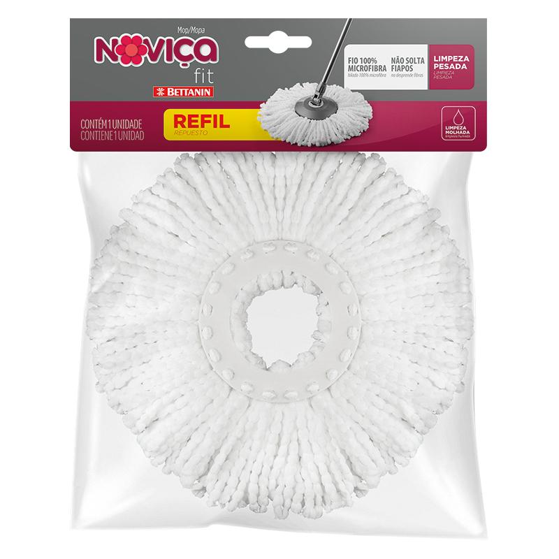 Refil Mop Noviça Giratório Microfibra Bettanin Fit 8 Litros - CX c/ 6