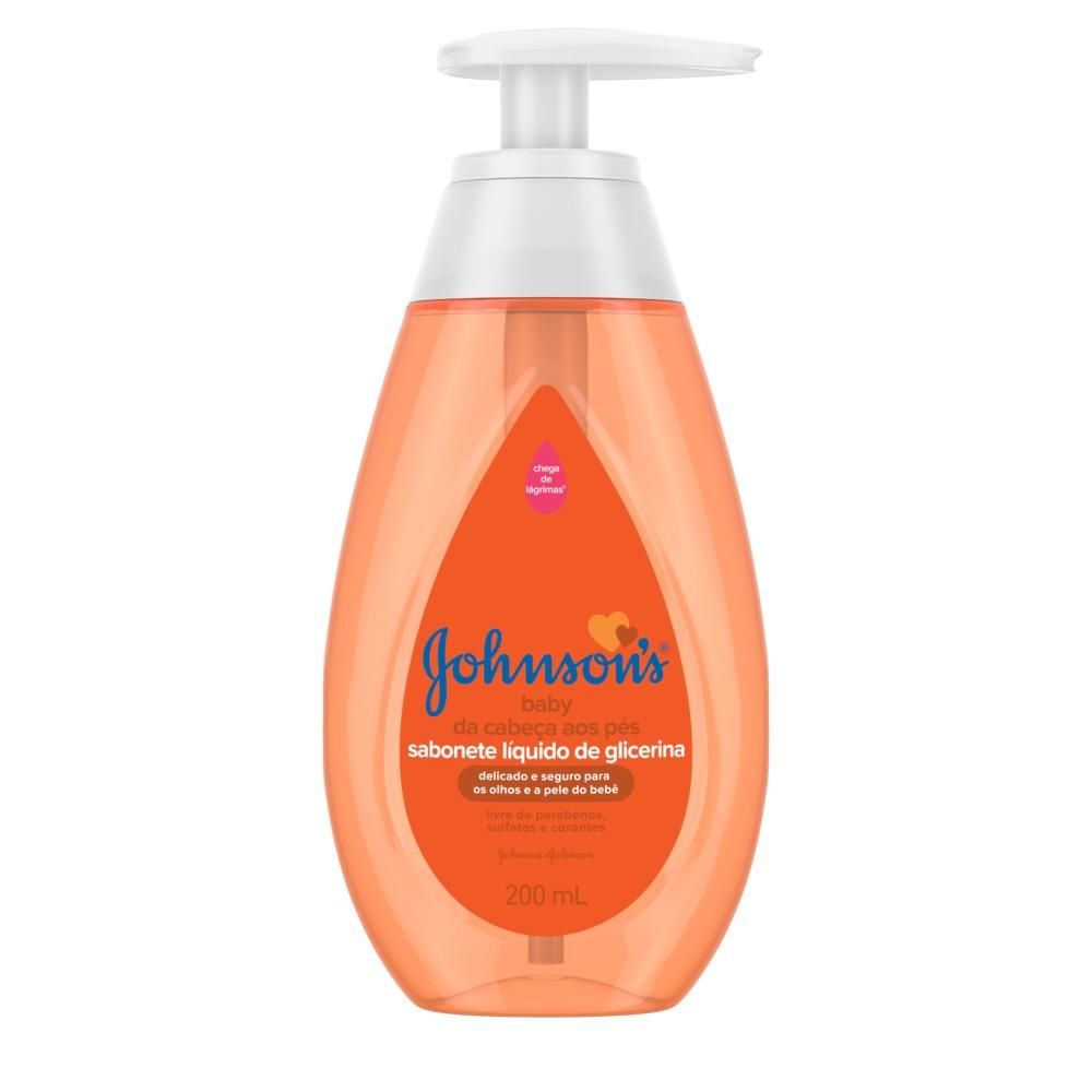 Sabonete Líquido de Glicerina JOHNSON'S Baby Da Cabeça aos Pés 200 ml - CX c/ 12