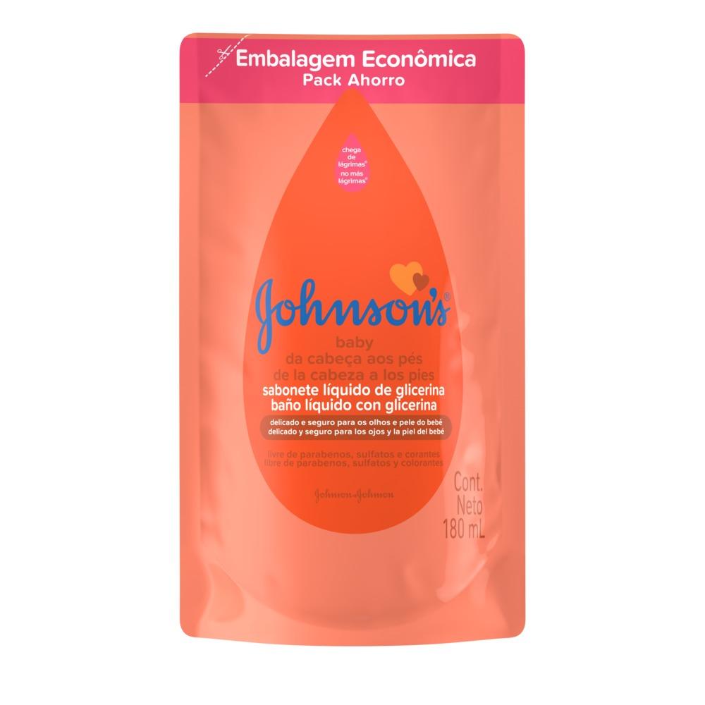 Sabonete Líquido de Glicerina JOHNSON'S Baby Da Cabeça aos Pés Refil 180 ml - CX c/ 12
