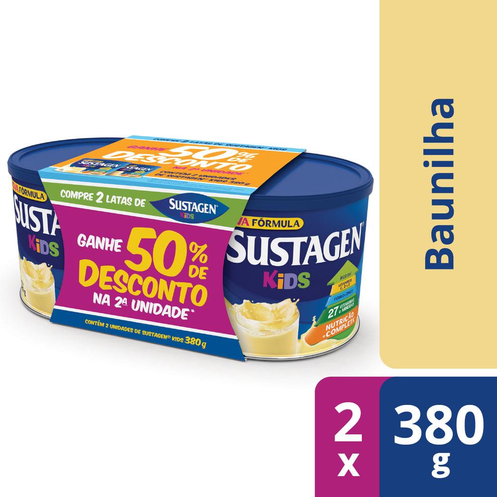 Sustagen Kids Sabor Baunilha - Kit Lata 2x380g - CX c/ 6
