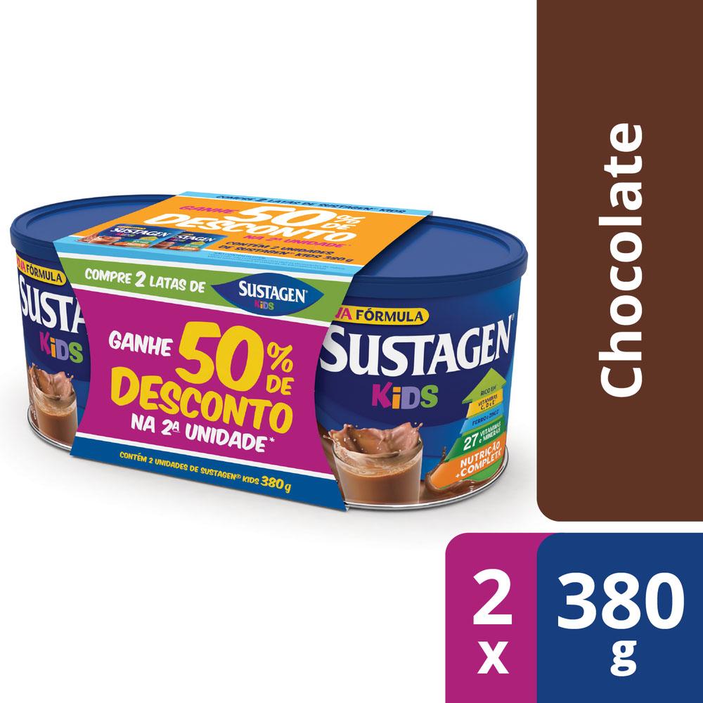 Sustagen Kids Sabor Chocolate - Kit Lata 2x380g - CX c/ 6