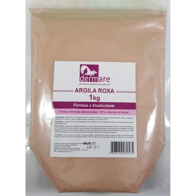 Argila Roxa 1 kg Dermare 100% Natural - Firmeza e Elasticidade