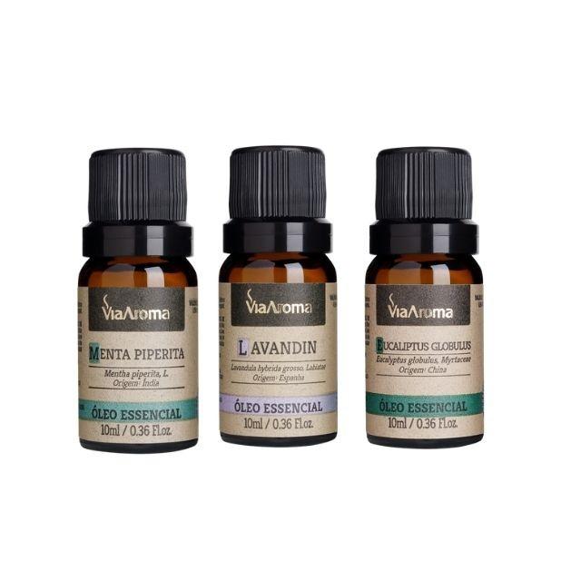 Kit Respiração 3 Óleos Essenciais 10ml Via Aroma -