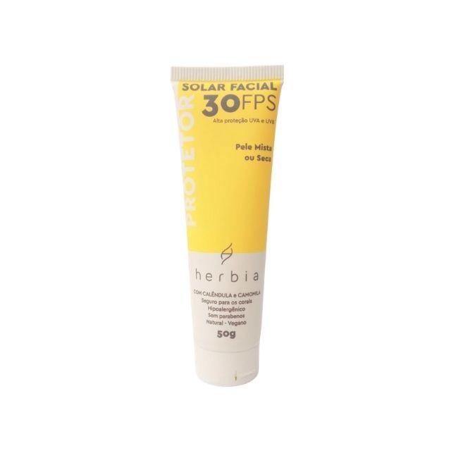 Protetor Solar Facial Natural Peles Mistas e Secas 50 gr Herbia