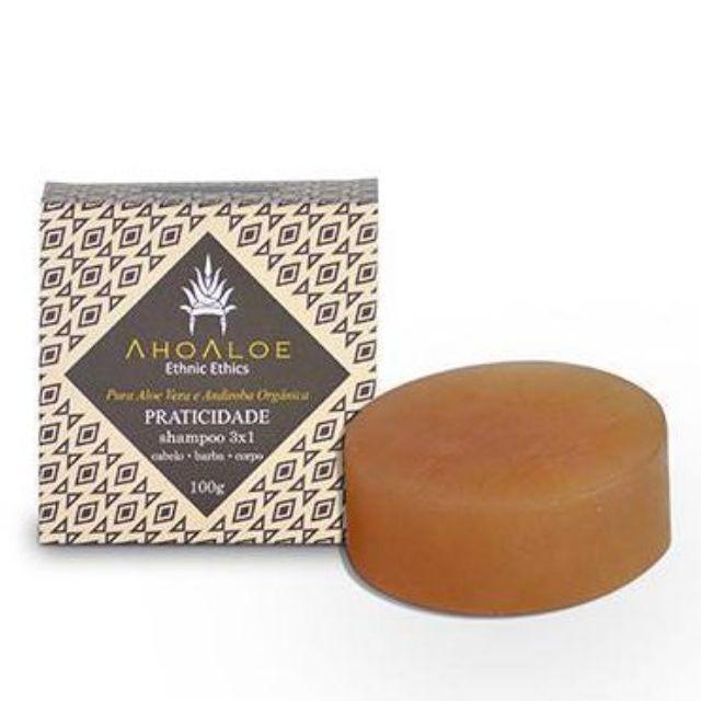Shampoo Sólido 3X1 Praticidade (barba, cabelo e corpo) 100g AHOALOE