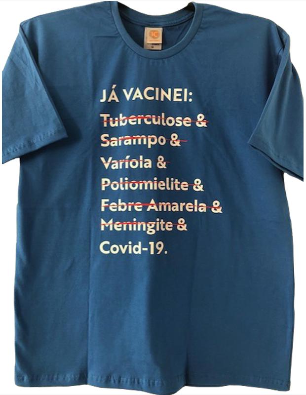Camiseta 'Já Vacinei' - Malha Tradicional