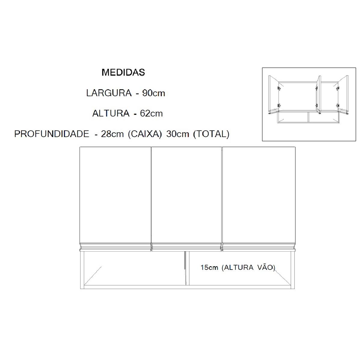 Armário Aéreo de Cozinha ou Área de Serviço Suspenso com 3 Portas
