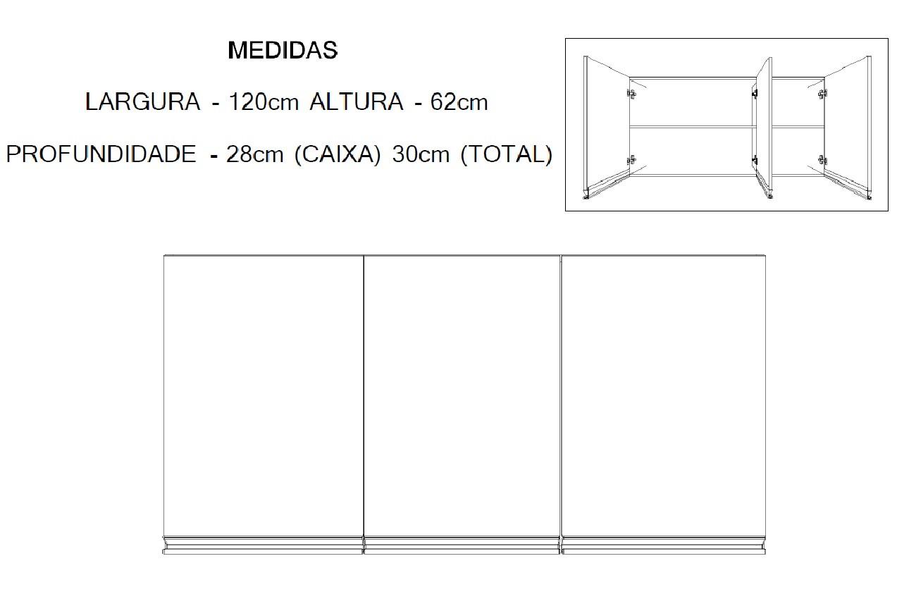 Armário Multiuso de Cozinha 120cm com 3 Portas