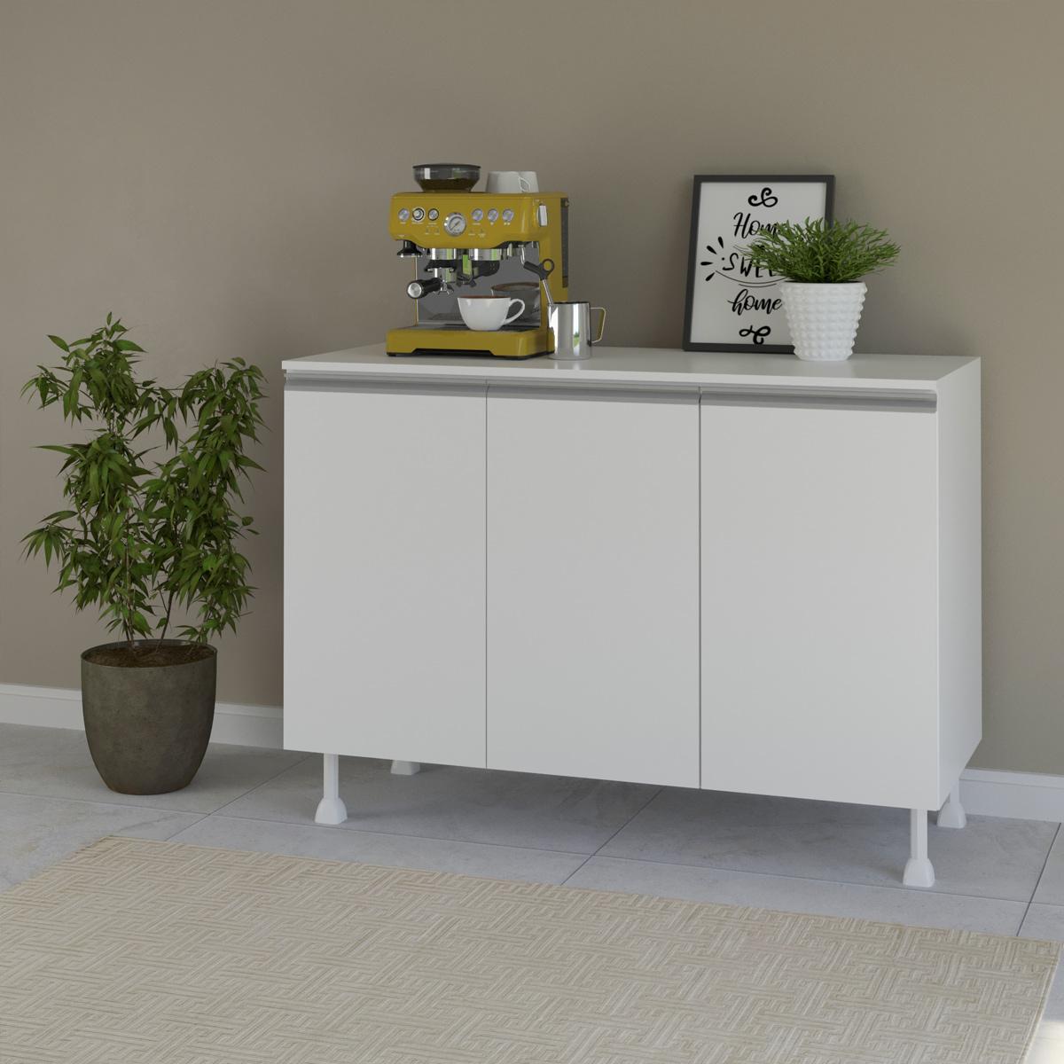 Balcão de Cozinha Multiuso com Tampo 120cm com 3 Portas