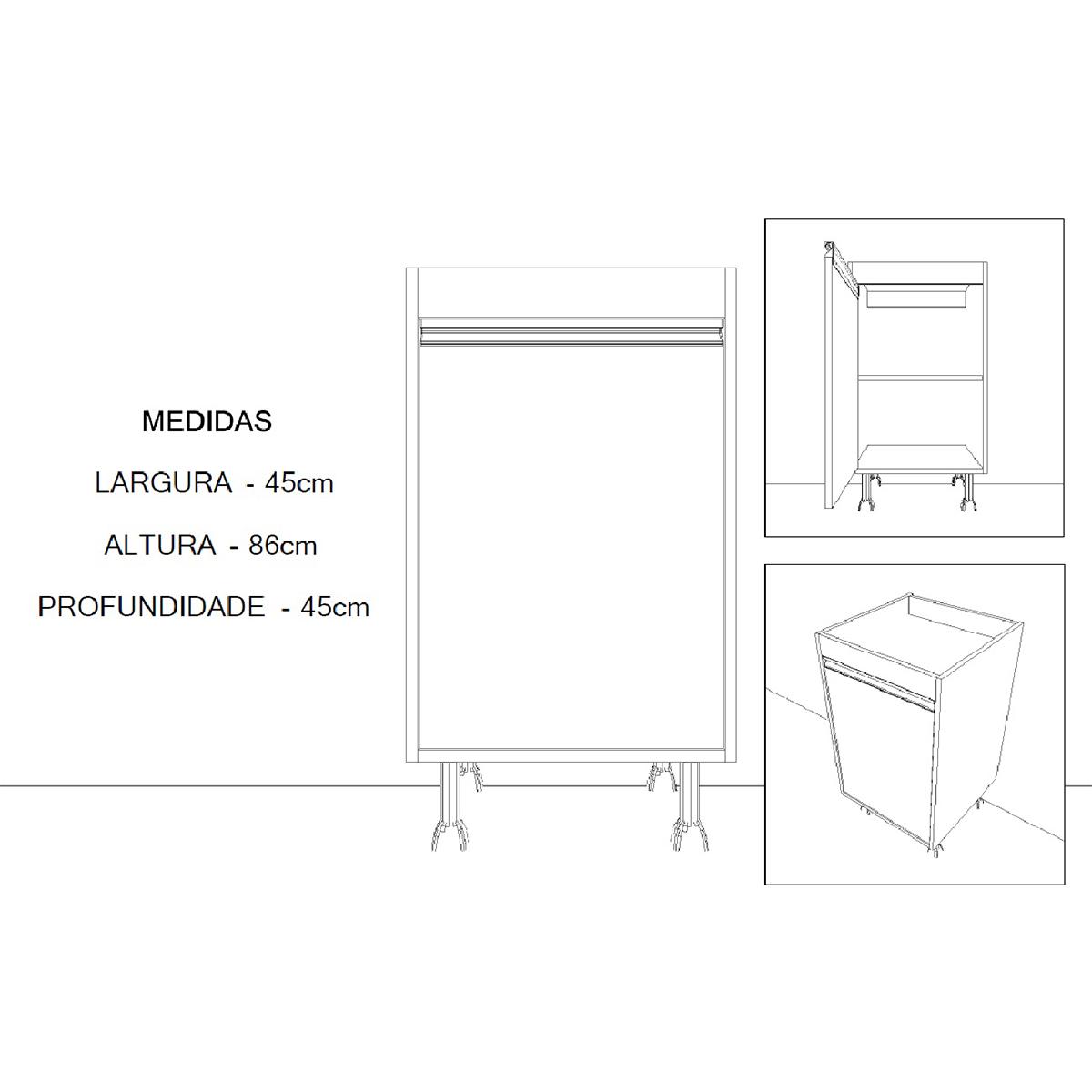 Balcão de Lavanderia com 1 Porta