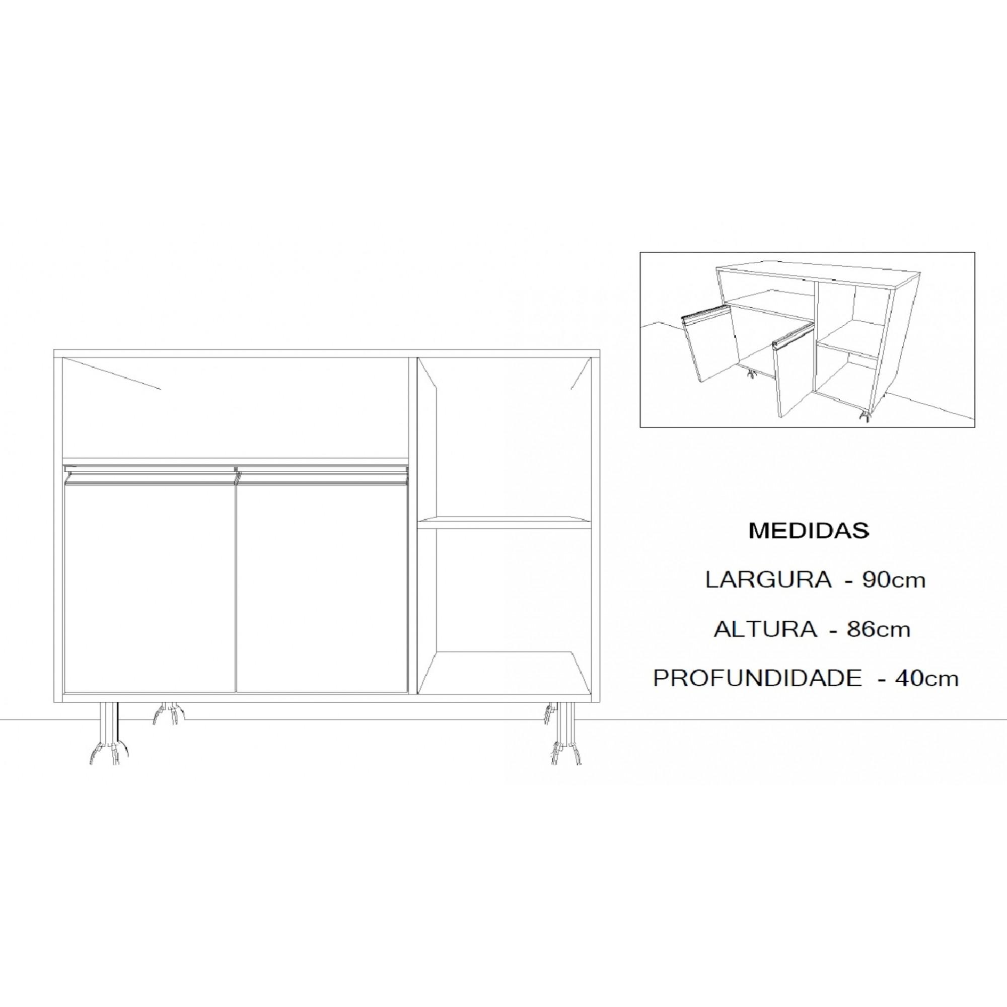 Balcão Microondas ou Bebedouro com 2 Portas