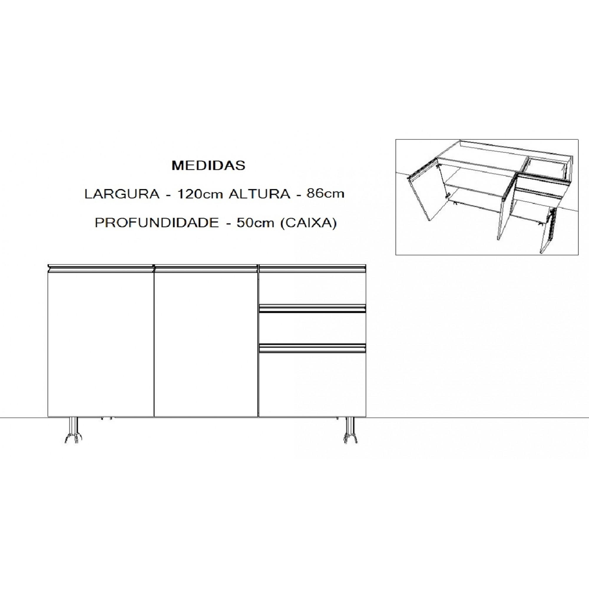 Balcão Pia de Cozinha  120cm 2 Portas e 3 Gavetas