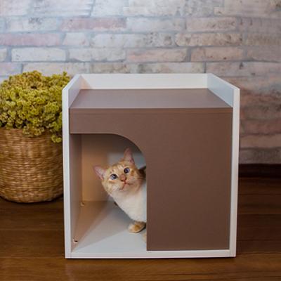 Casinha de Gato Tipo Mesinha com Entrada Arredondada - Alto Padrão