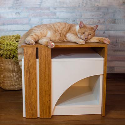 Casinha de Gato Tipo Mesinha com Entrada Curva - Alto Padrão