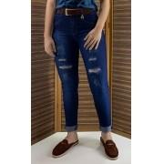 Calça Feminina Jeans Escuro Rasgado