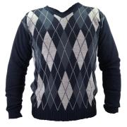 Suéter Masculino Gola V Azul/Cinza