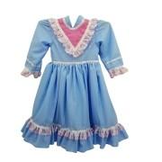 Vestido de Prenda 01 Ano Criações Darvami Azul/Rosa