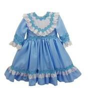 Vestido de Prenda 06 Meses Criações Darvami Azul