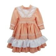 Vestido de Prenda 06 Meses Criações Darvami Salmão