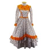 Vestido de Prenda Juvenil 12 Anos Criações Darvami Laranja/Flor