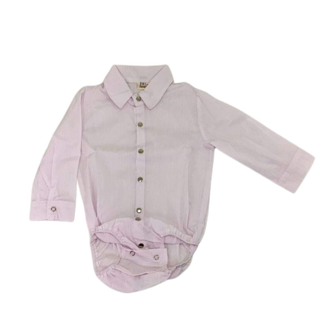 Body Infantil Anita Kids Criações Darvami G Branco Listras Rosa