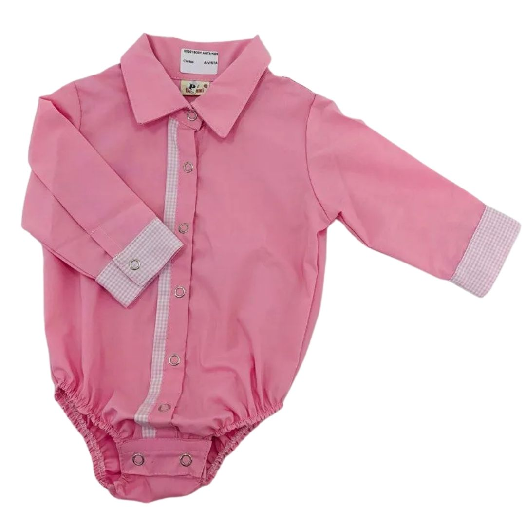 Body Infantil Anita Kids Criações Darvami P Rosa Pink