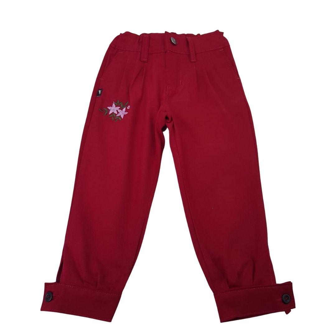 Bombacha Infantil Feminina bordada Vermelha
