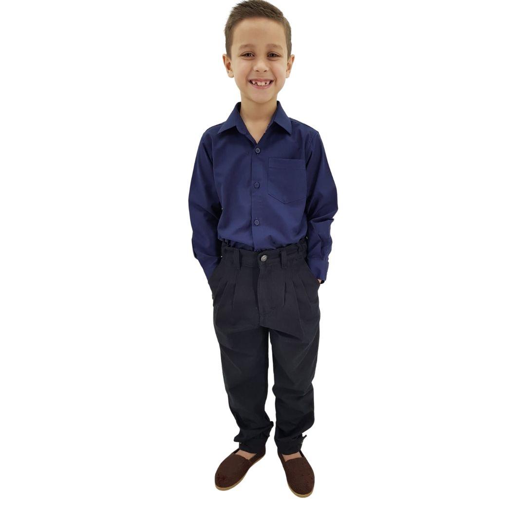 Camisa Infantil Masculina Lisa Azul Marinho