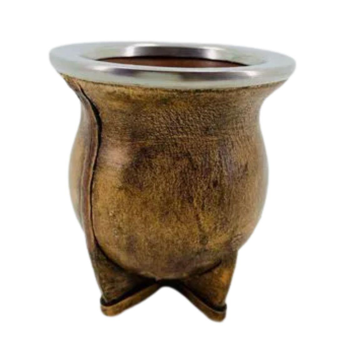 Cuia Arte Couro Cerâmica Bocal Inox Clara