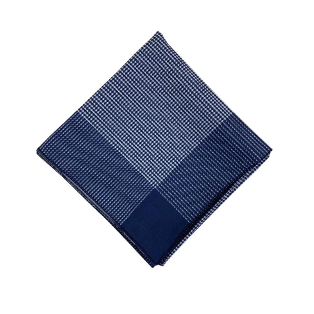 Lenço Carijó Grande Azul/Branco
