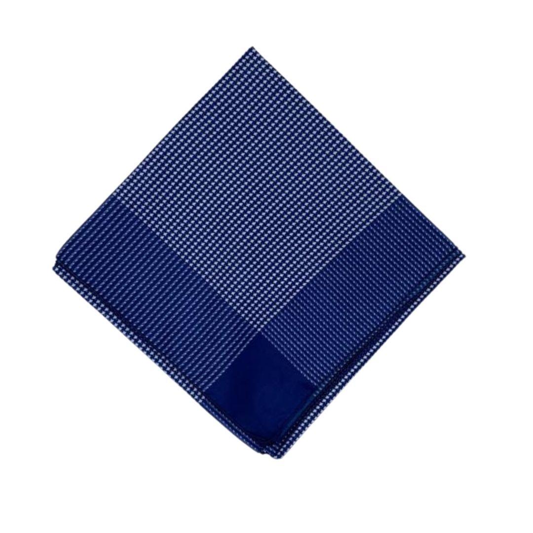 Lenço Carijó Semi Acetinado Grande Azul/Branco