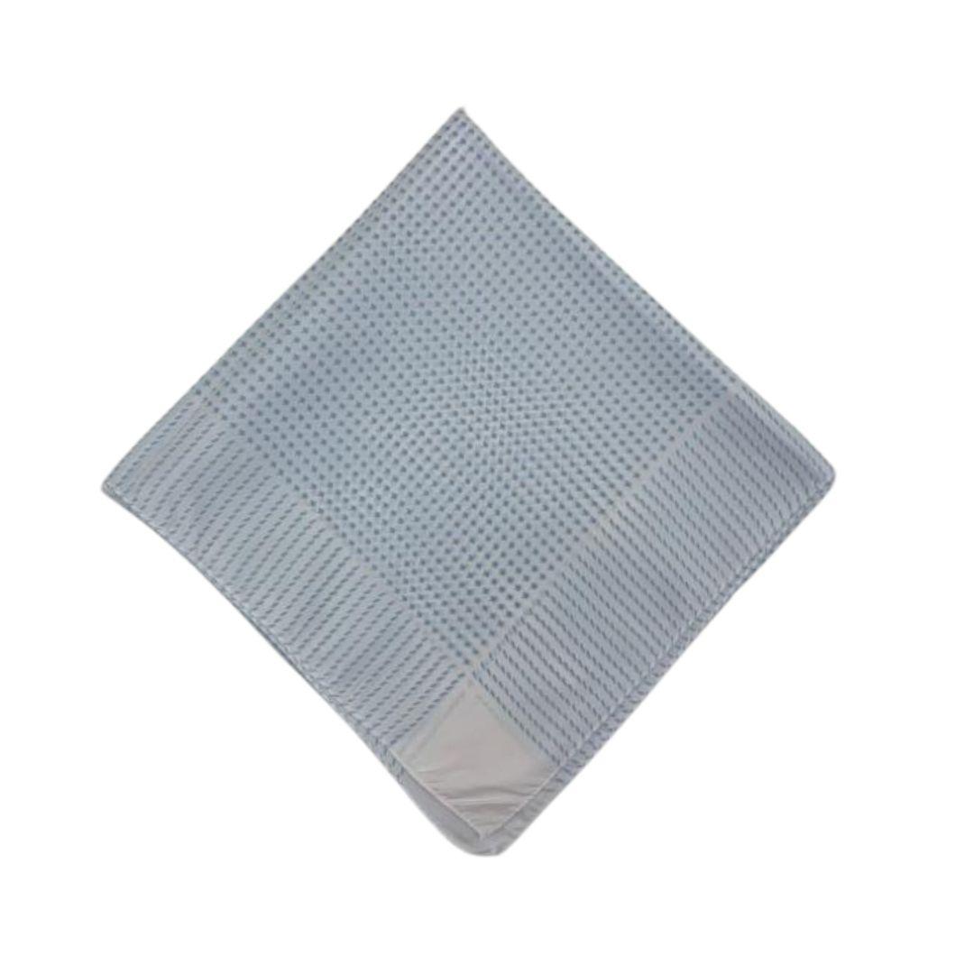 Lenço Carijó Semi Acetinado Grande Branco/Azul