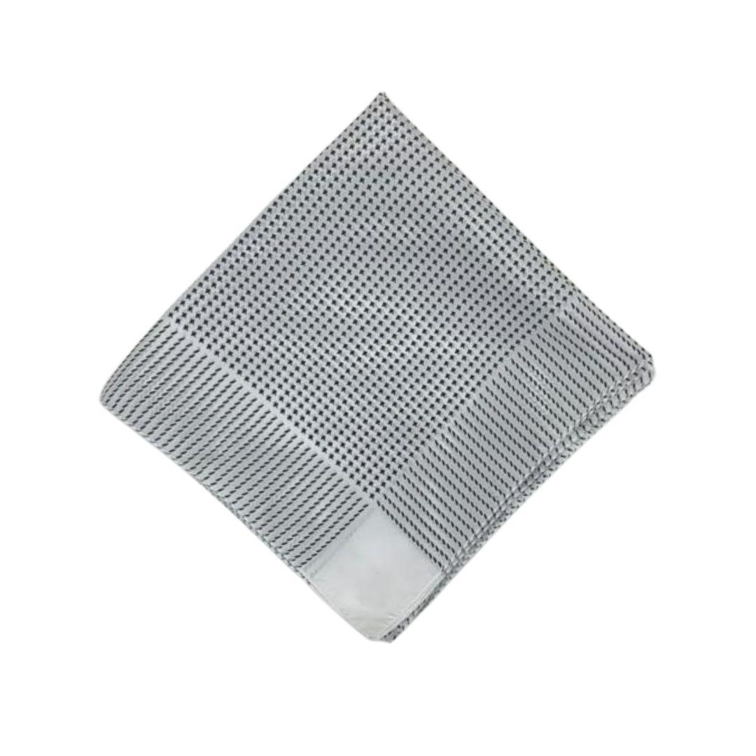 Lenço Carijó Semi Acetinado Grande Branco/Preto