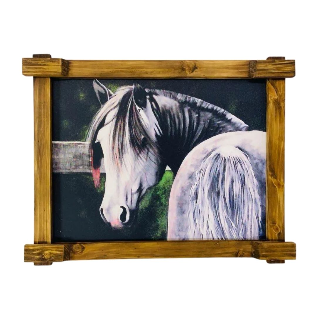 Quadro Tela Digitalizado - Cavalo Branco