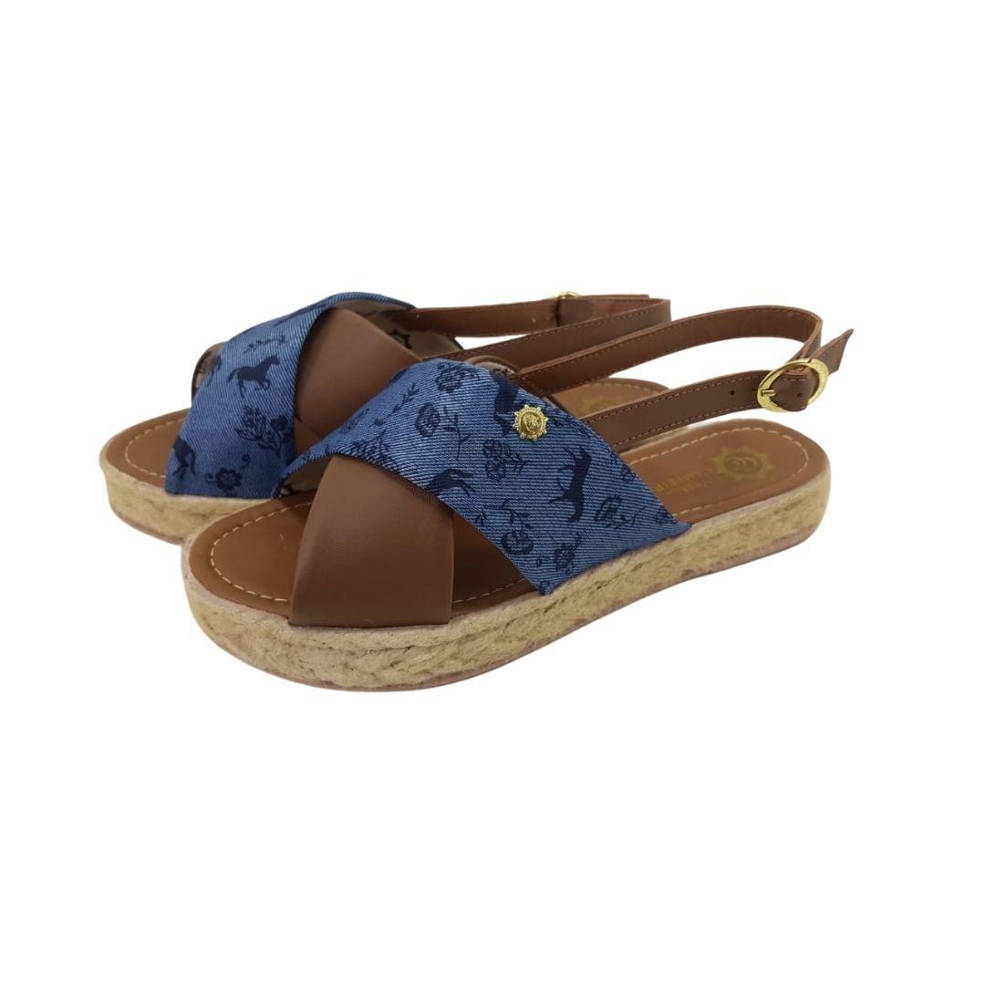Sandália Feminina Trançada Guria Campeira Jeans