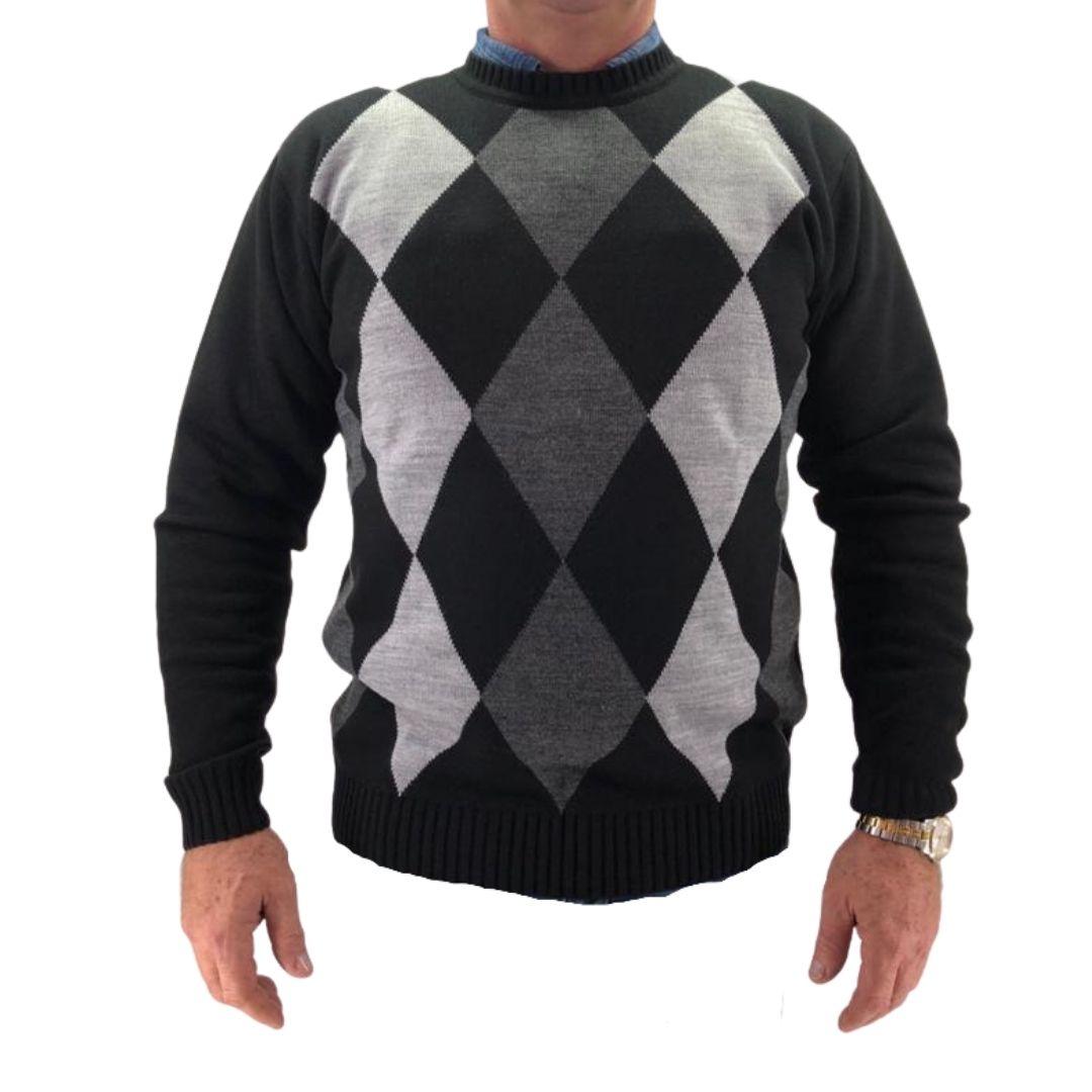 Suéter Masculino Gola Redonda Cinza