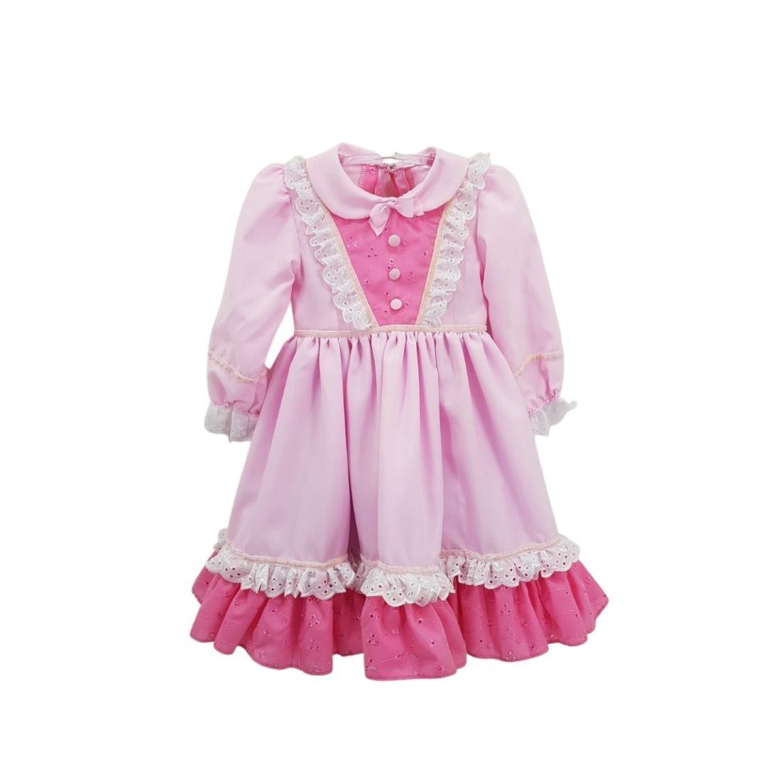 Vestido de Prenda 01 Ano Criações Darvami Rosa