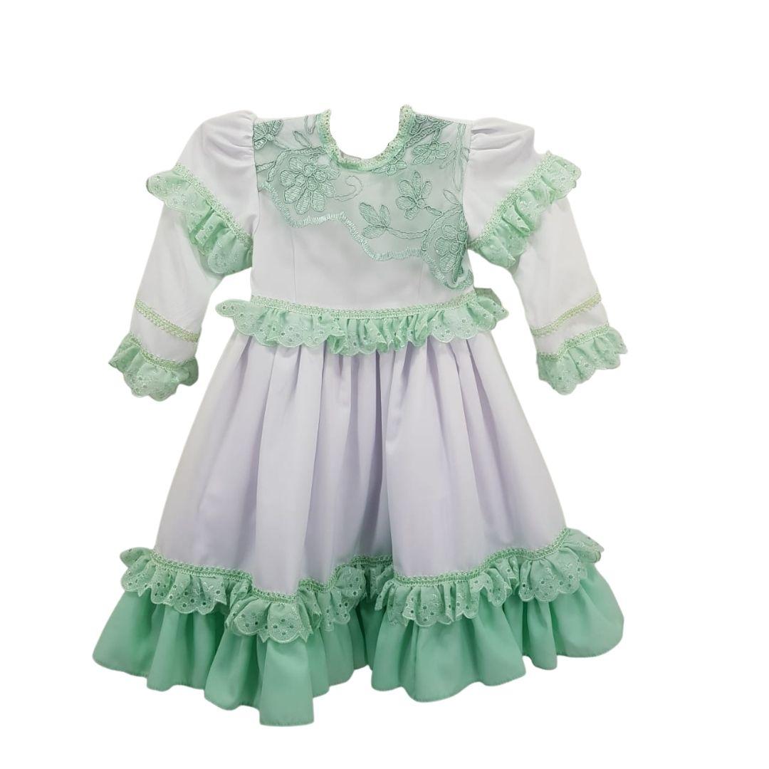 Vestido de Prenda 01 Ano Criações Darvami Verde