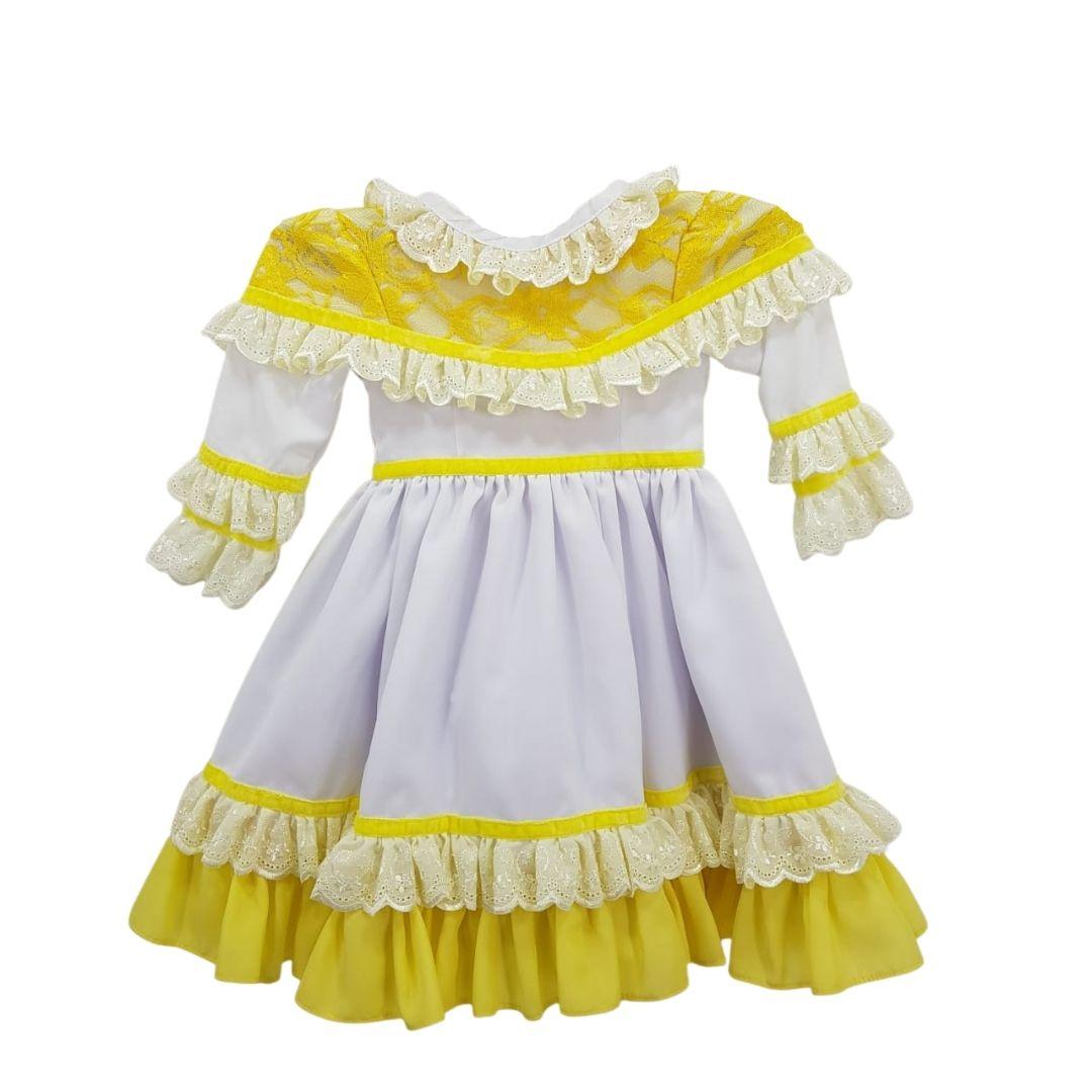 Vestido de Prenda 06 Meses Criações Darvami Amarelo