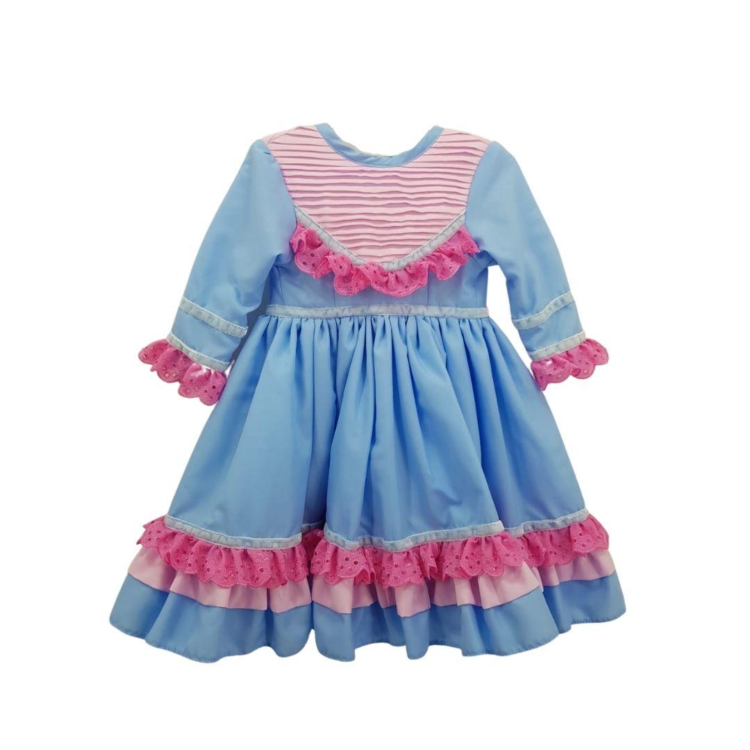 Vestido de Prenda 06 Meses Criações Darvami Azul/Rosa