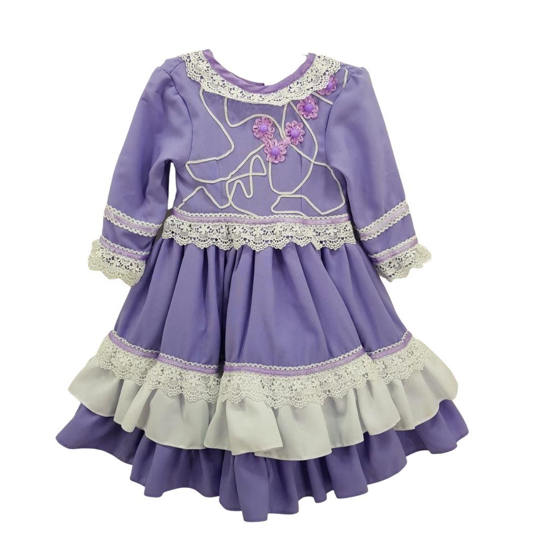 Vestido de Prenda 06 Meses Criações Darvami Lilás