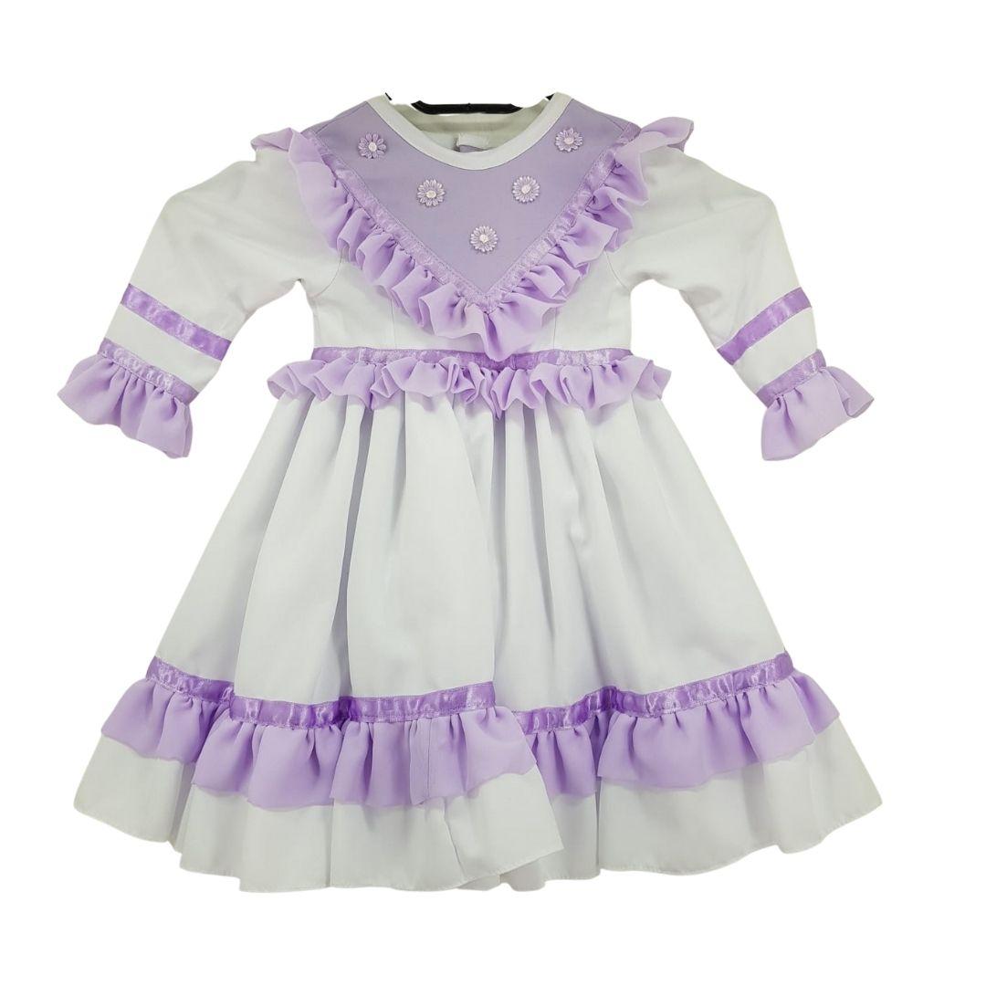 Vestido de Prenda Infantil 06 Meses Criações Darvami Lilás