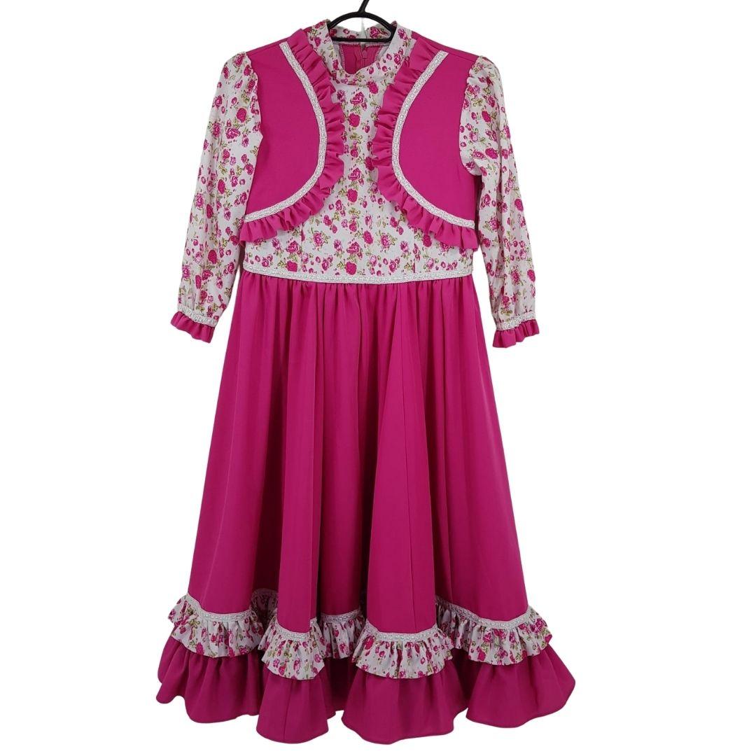 Vestido de Prenda Infantil 06 Anos Criações Darvami Rosa Pink/Flor