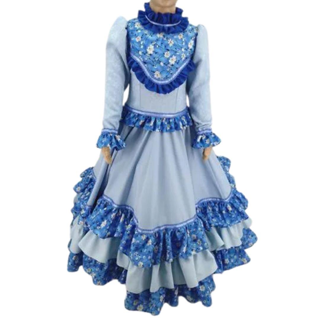 Vestido de Prenda Infantil 06 Anos Criações Darvami Azul