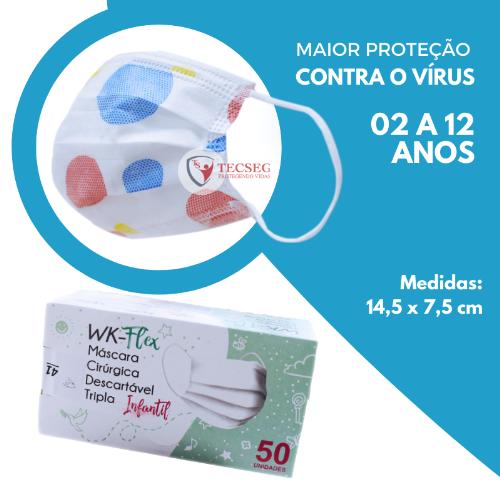 MASCARA INFANTIL DESC WORKFLEX TRIPLA CAMADA TNT BOLINHA CX 50